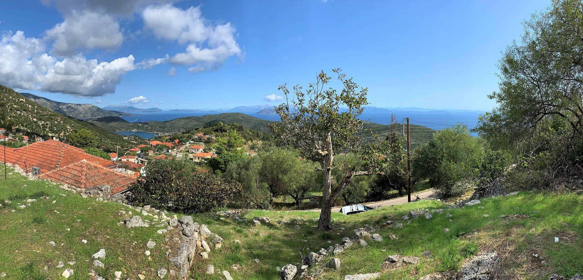 Terraced landscape and view of land for sale in Ithaca Greece, Perachori