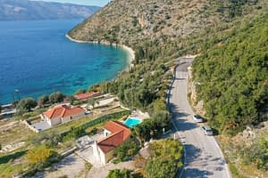 Aerial view of house for rent in Ithaca Greece, Piso Aetos