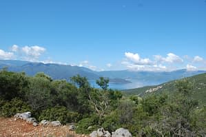 Sea view and mountain landscape of land for sale Ithaca Greece