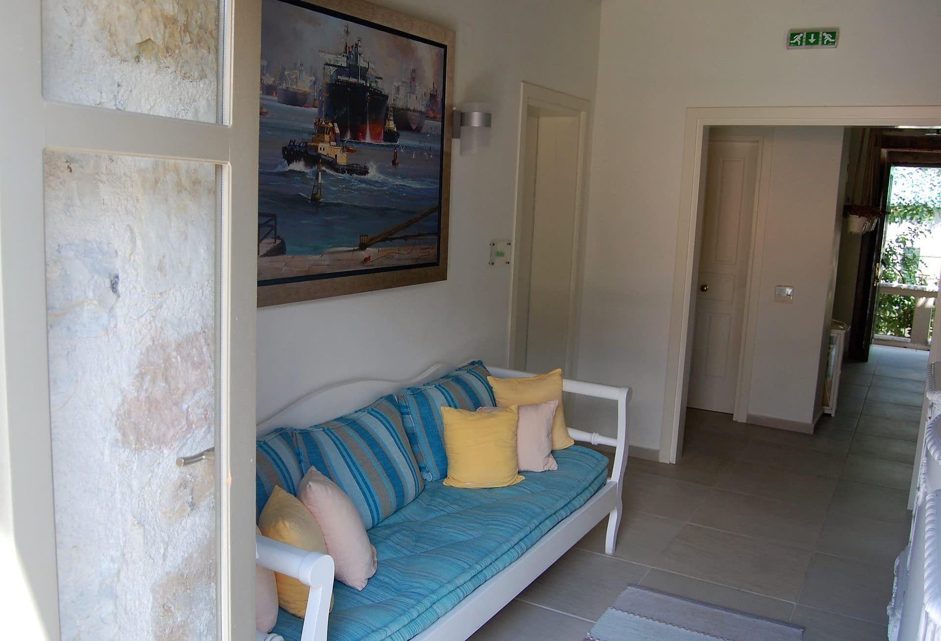 Reception area of boutique hotel for sale on Ithaca Greece Vathi