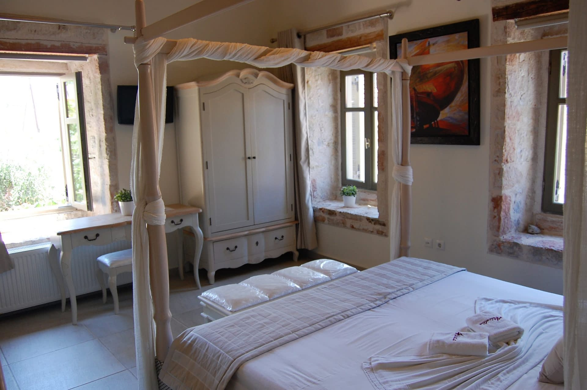 Bedroom of boutique hotel for sale on Ithaca Greece Vathi