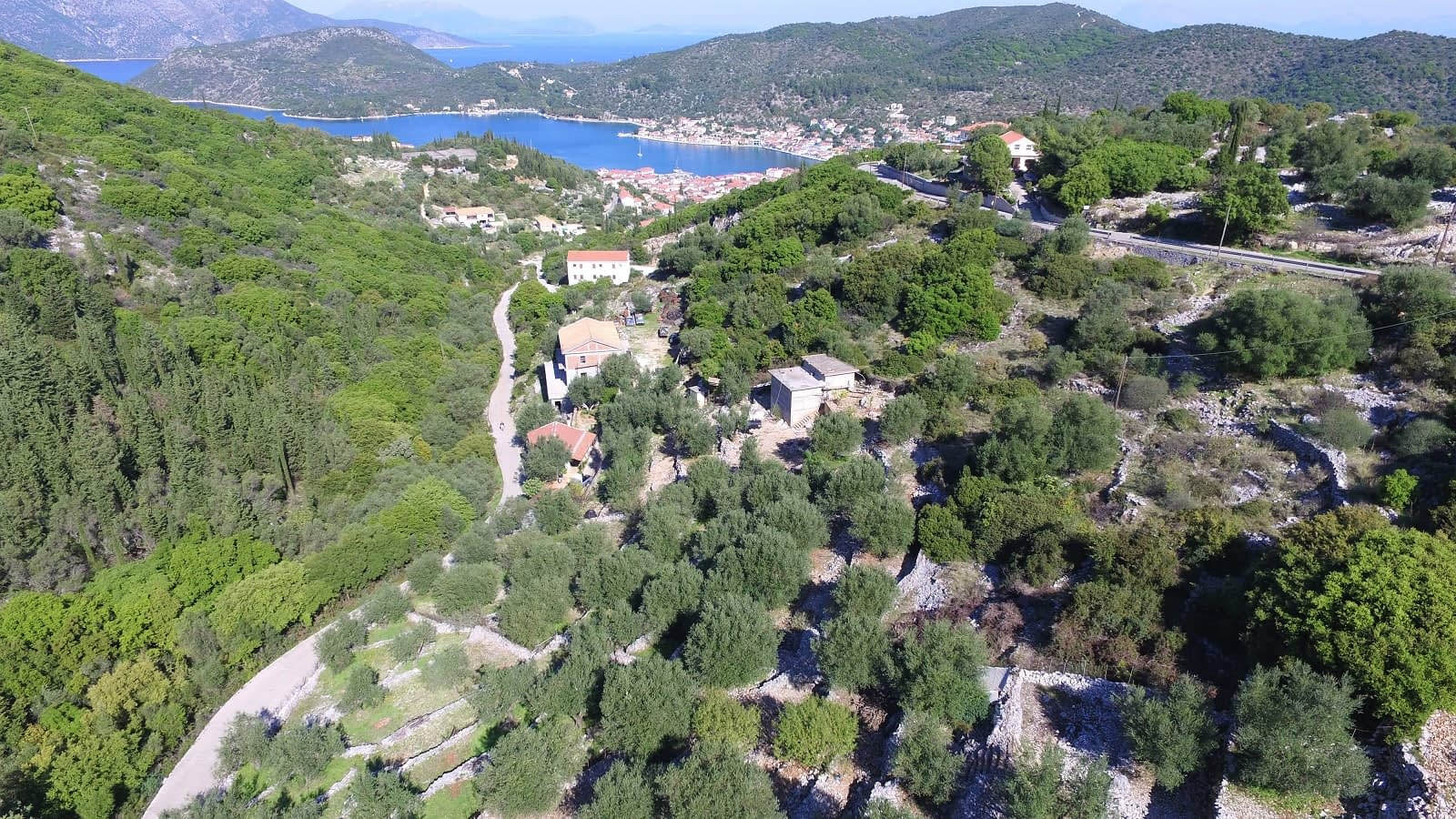 Aerial view of house for sale Ithaca Greece Perachori