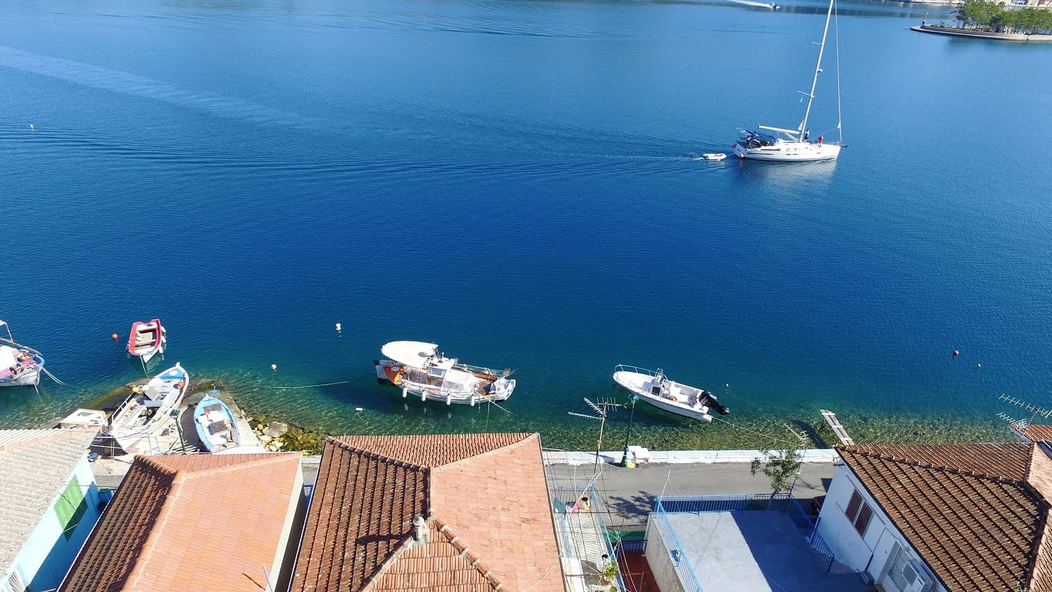 Aerial view of house for sale in Ithaca Greece, Vathi