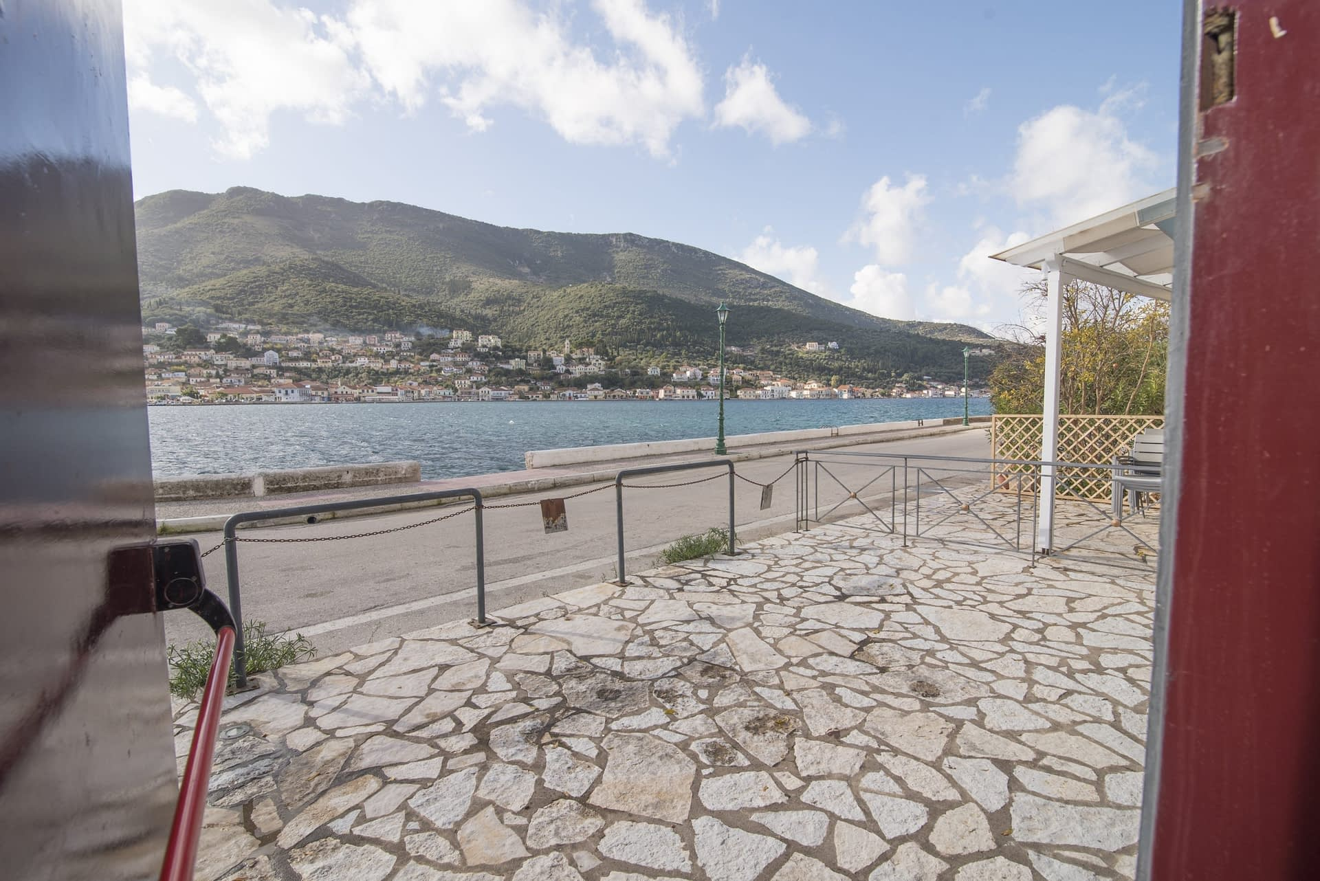 Outside terrace of building for sale in Ithaca Greece, Vathi