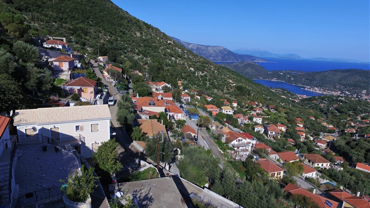 Aerial of house for sale in Ithaca Greece Perachori
