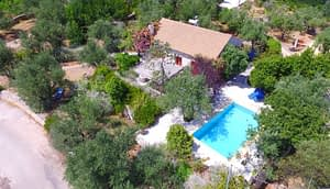 Aerial view of terrace with swimming pool of property for sale in Ithaca Greece Vathi