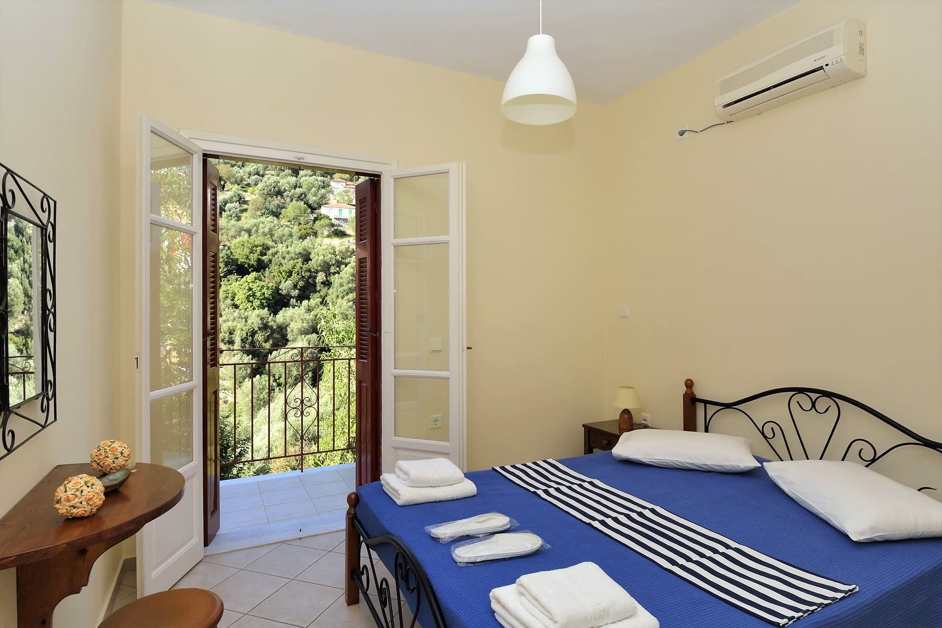 Interior bedroom from holiday apartments Kioni, Ithaca Greece