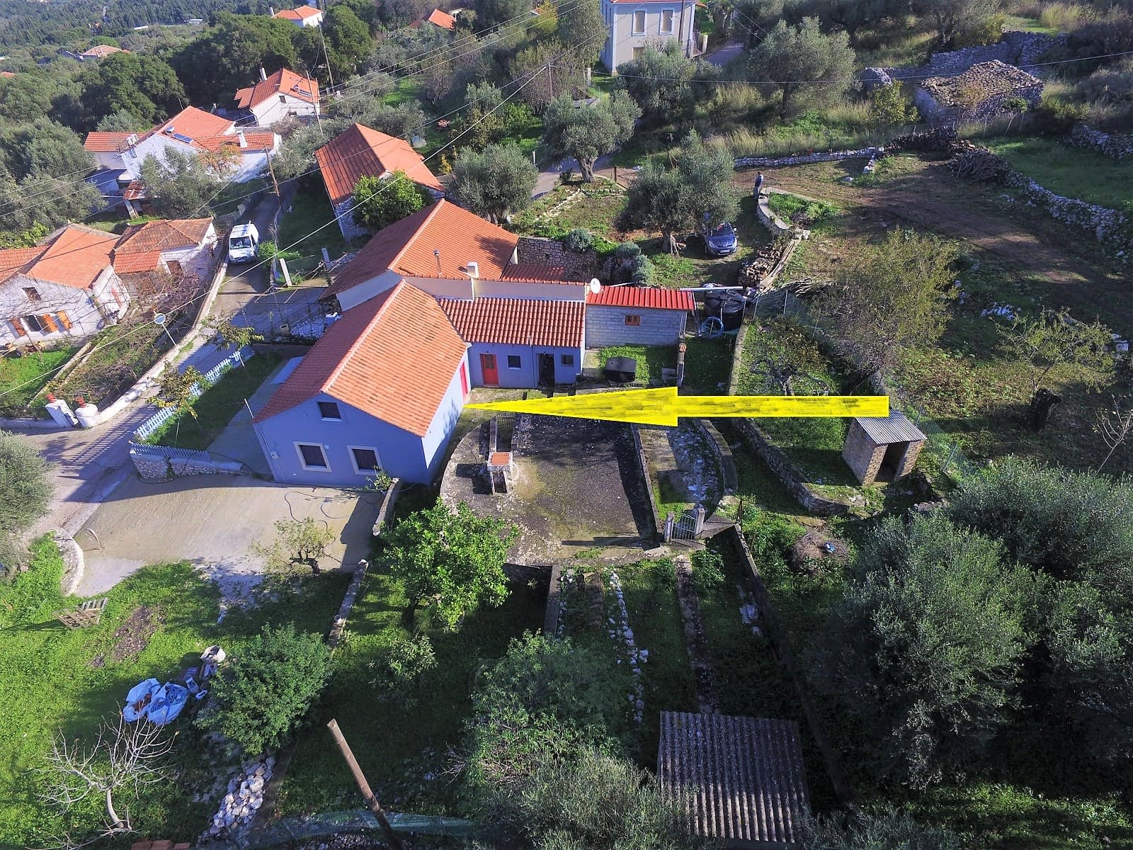 Aerial view of house for sale Ithaca Greece