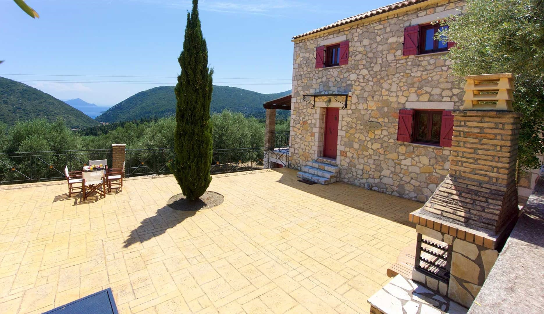 Courtyard of stone villa for rent in Ithaca Greece, Pilikata