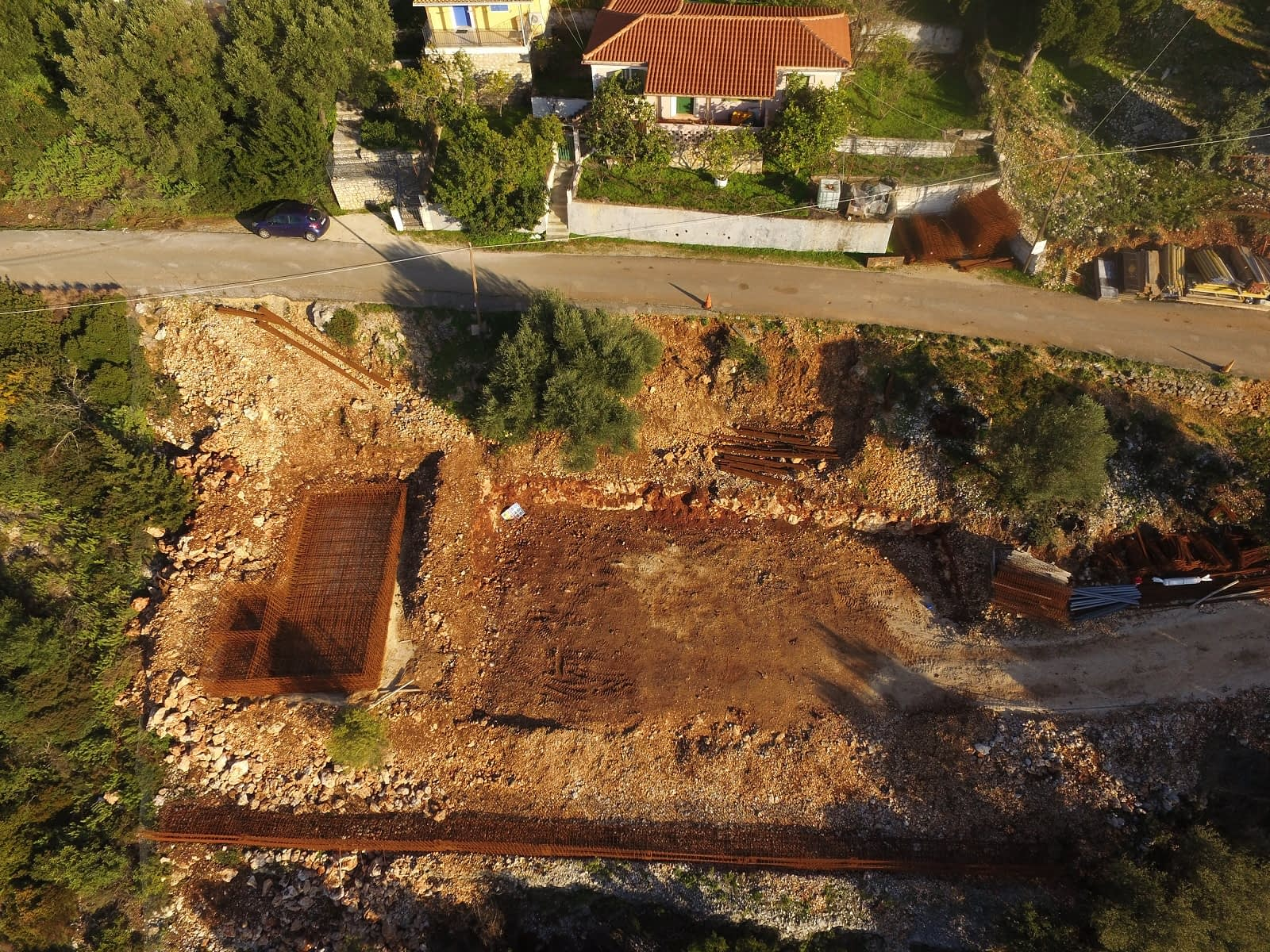Aerial view of house in progress for sale in Ithaca Greece Lefki