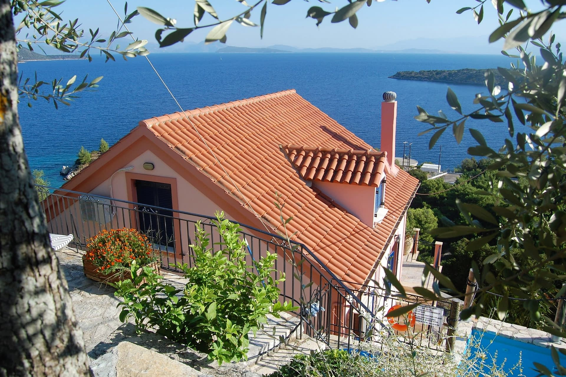 Landscape and sea view of house for sale Ithaca Greece, Kioni