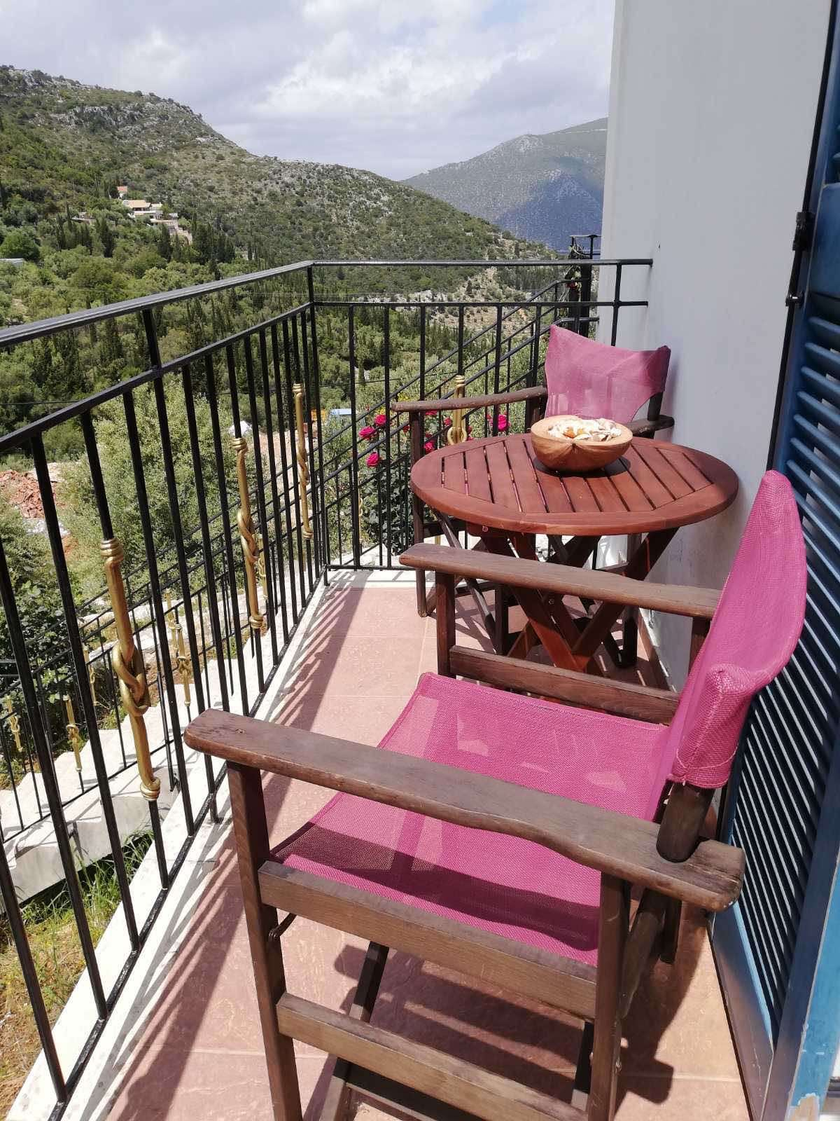 Outside balcony of property for sale in Ithaca Greece Vathi