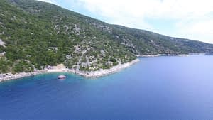 Aerial view of land for sale on Ithaca Greece, Meganisi