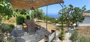 Terrace and garden of house for sale in Ithaca Greece,Ag Saranta