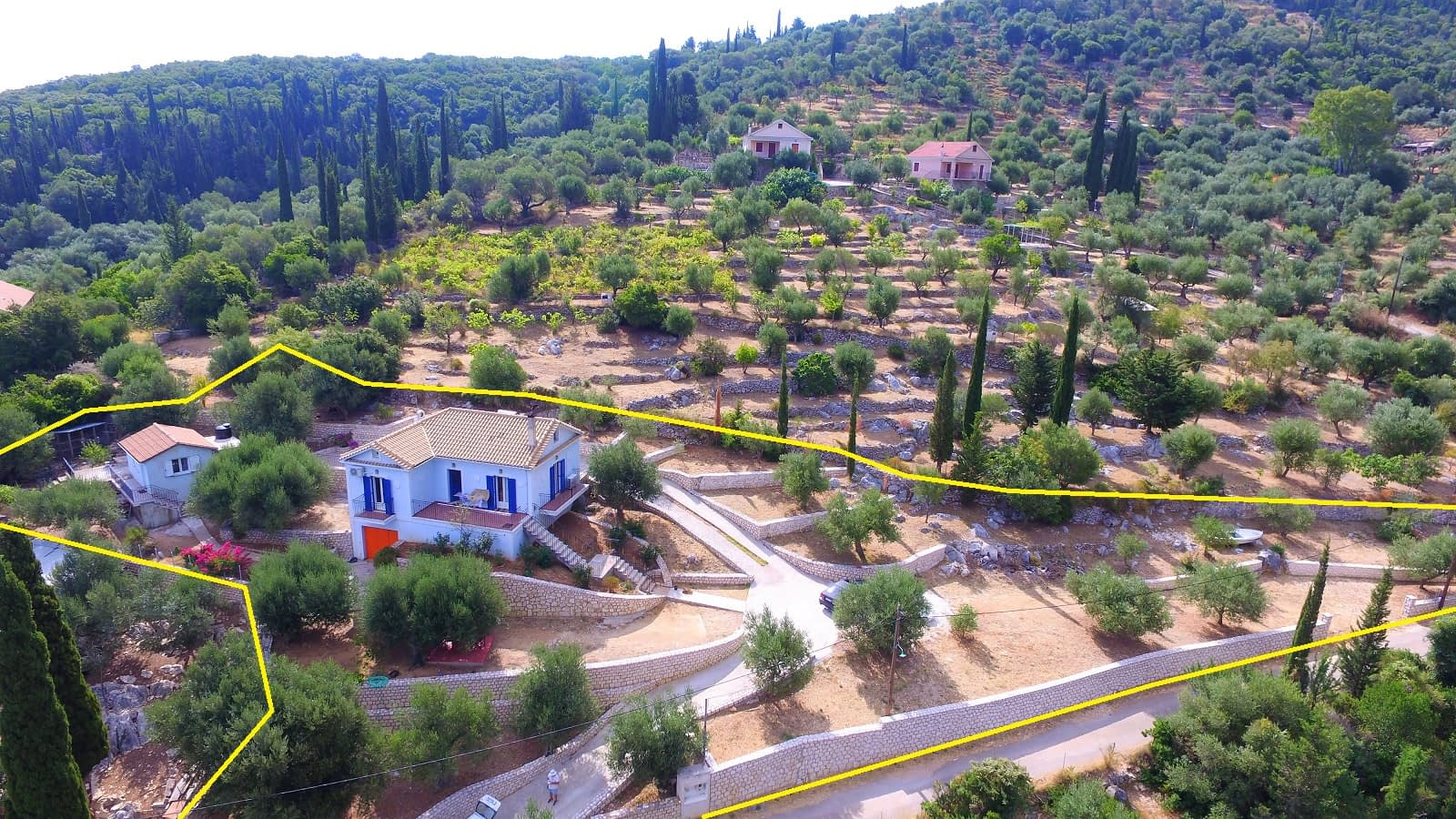 Aerial view of property for sale Ithaca Greece Vathi