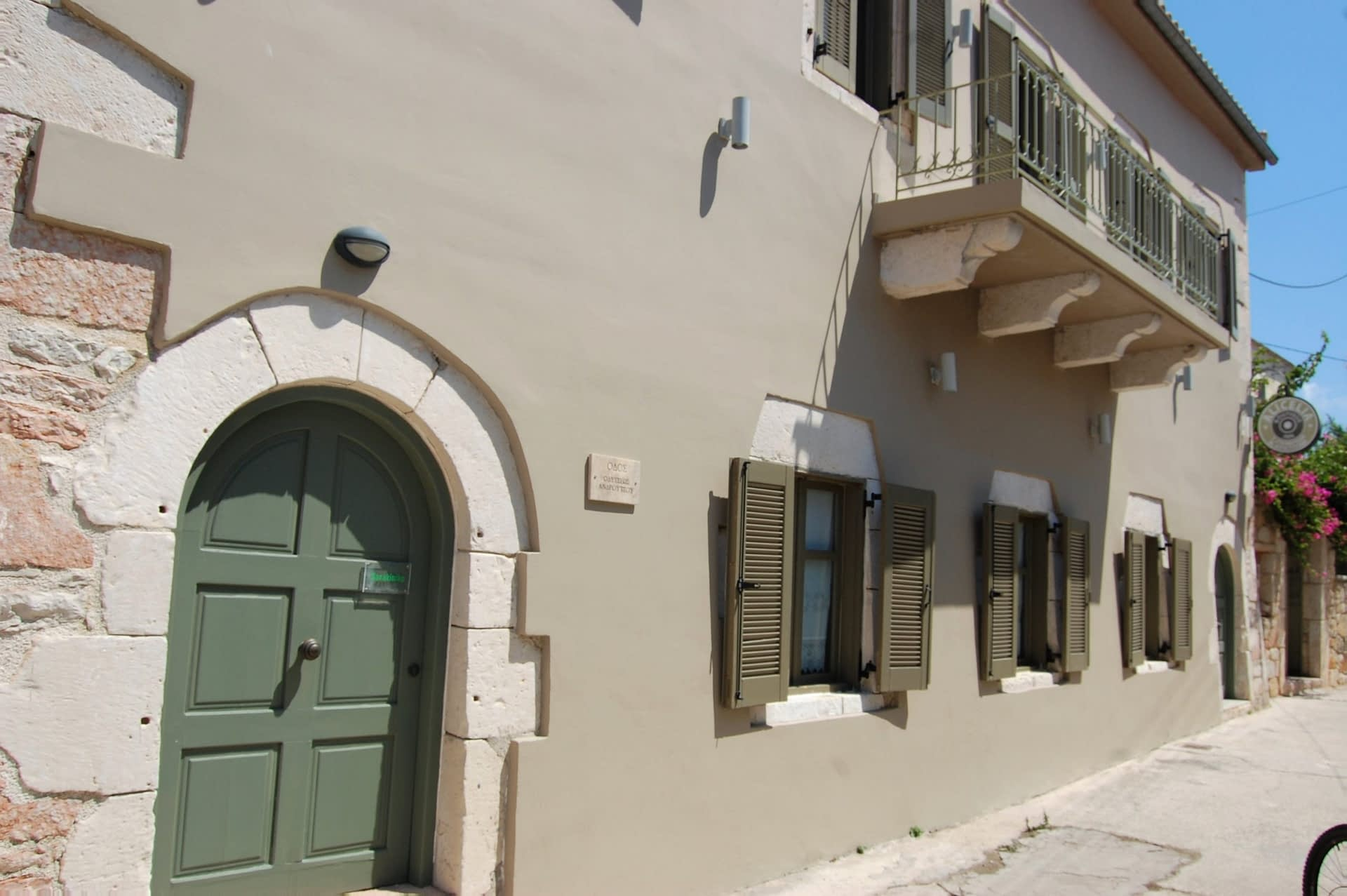 Exterior facade of boutique hotel for sale on Ithaca Greece Vathi