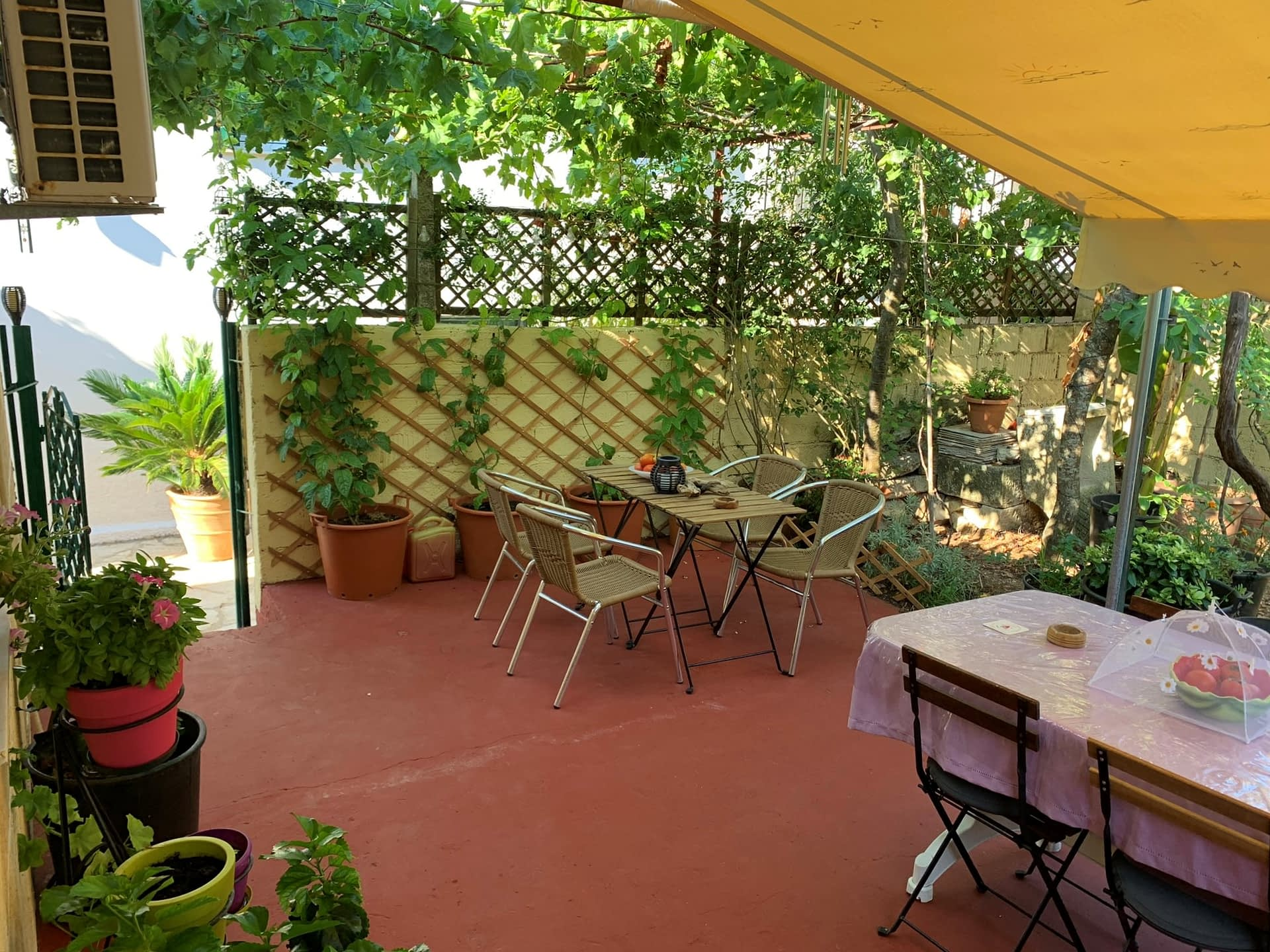Outdoor courtyard of house for sale on Ithaca Greece, Kioni