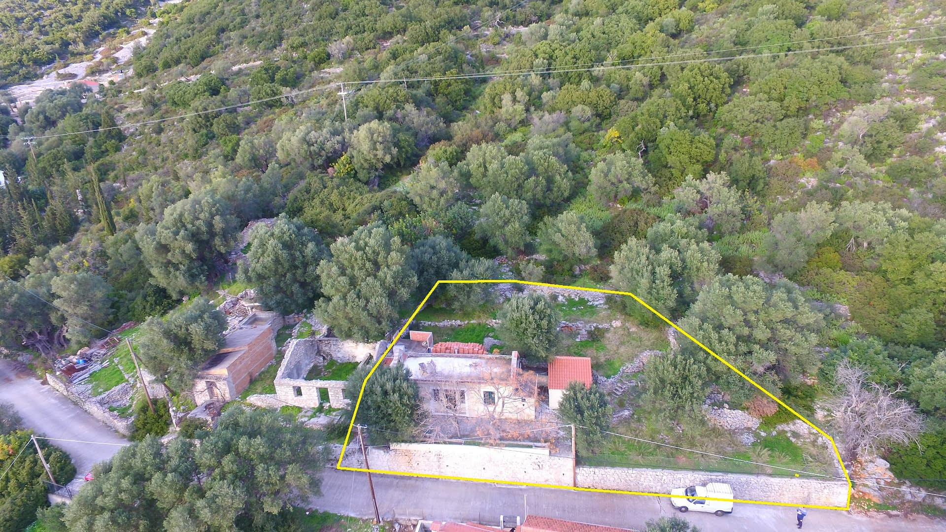 Landscape and terrain and sea view of land for sale Ithaca Greece