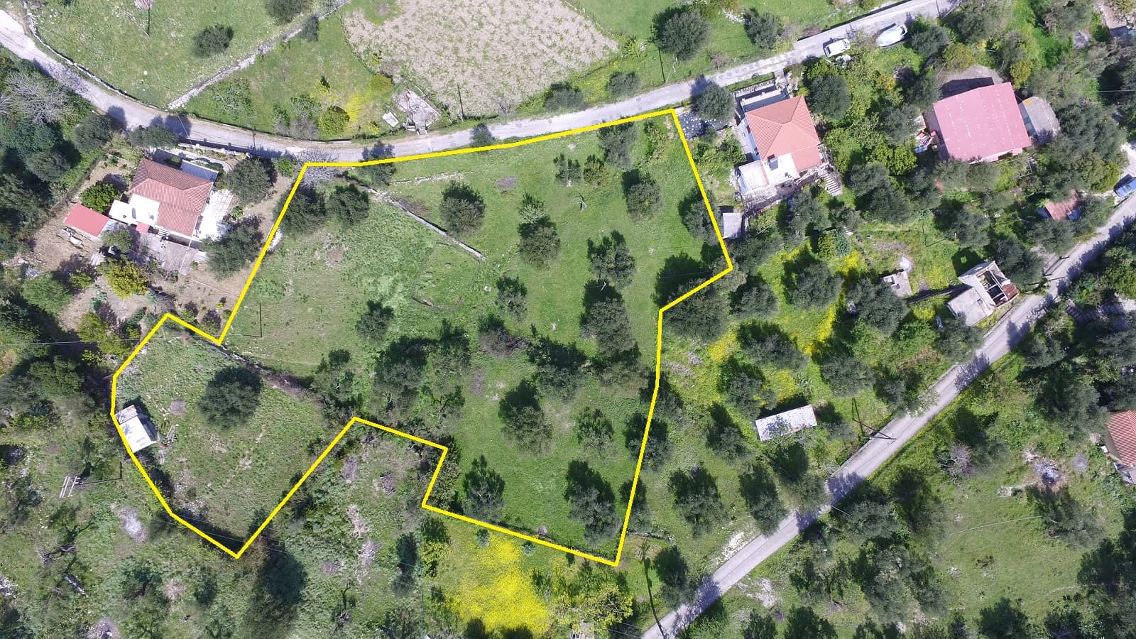 Aerial view and border of land for sale Ithaca Greece, Kolleri
