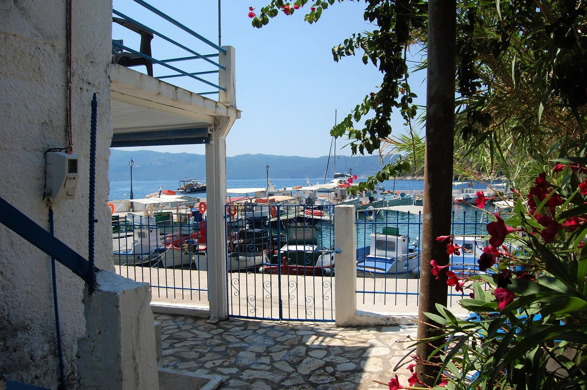 Outside stone terrace area of house for rent in Polis Bay Ithaca Greece
