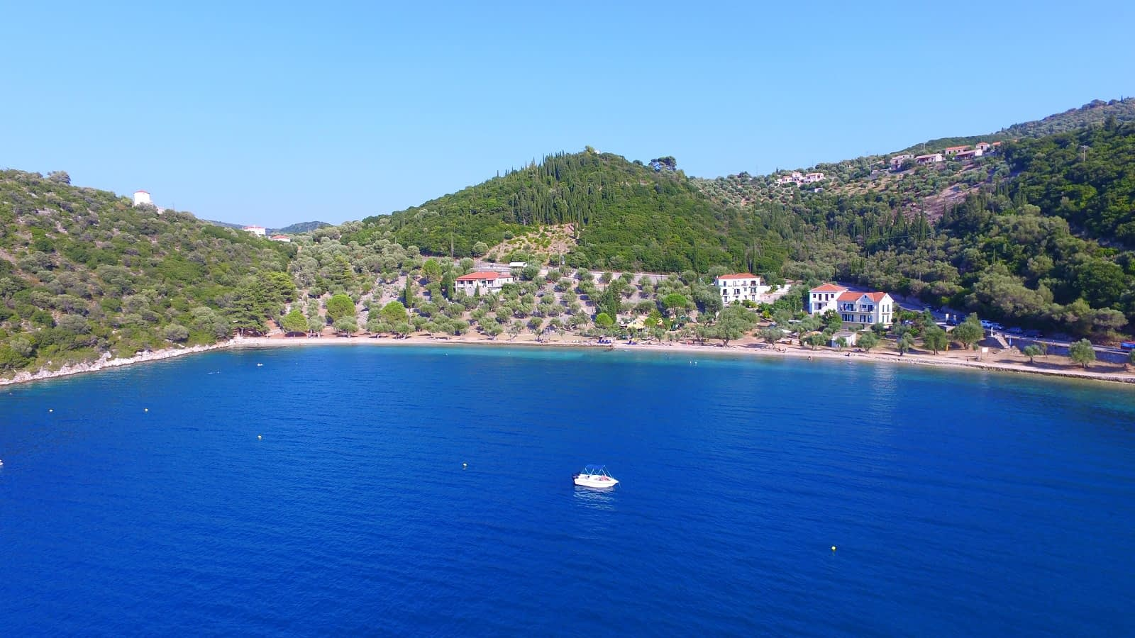 Aerial view from the sea of land for sale Ithaca Greece Dexa Vathi
