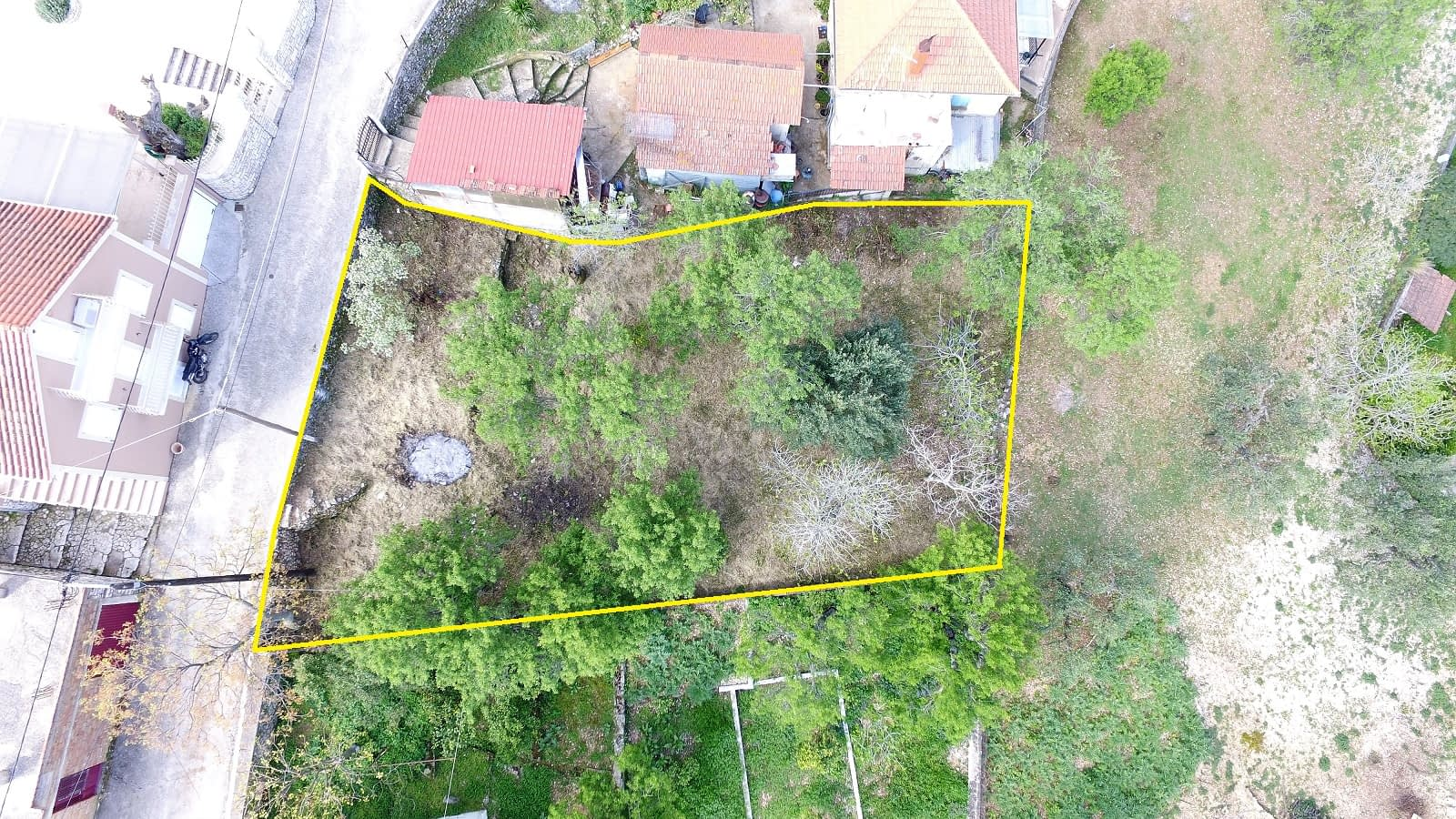 Aerial view and border of land for sale in Ithaca Greece, Perachori