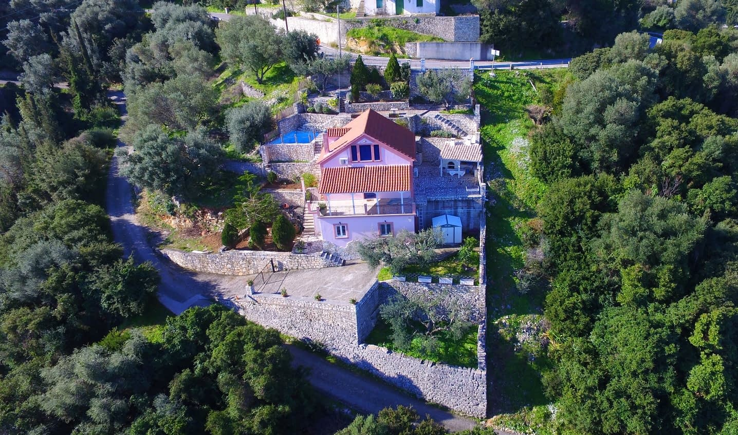 Aerial view of house for sale Ithaca Greece, Kioni