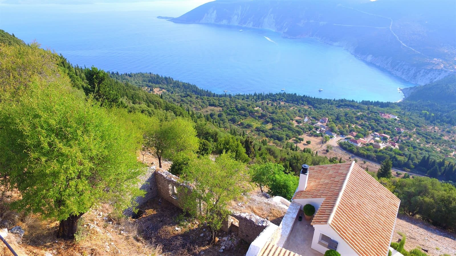 Aerial and sea view of land with ruin for sale in Ithaca Greece Exoghi