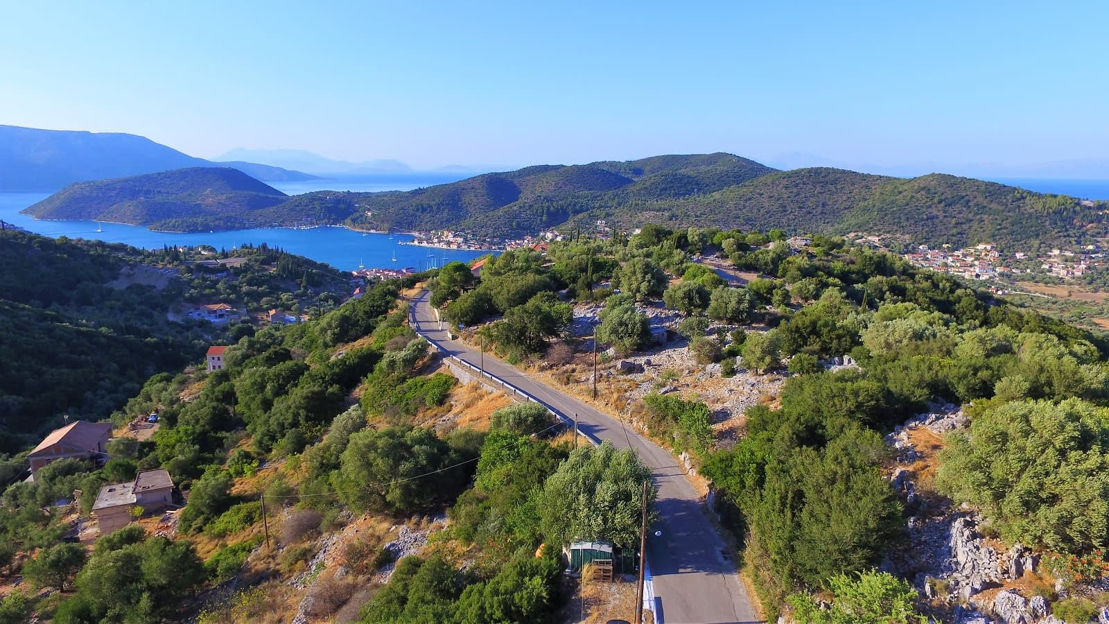 Aerial landscape and view of property for sale in Ithaca Greece Perachori