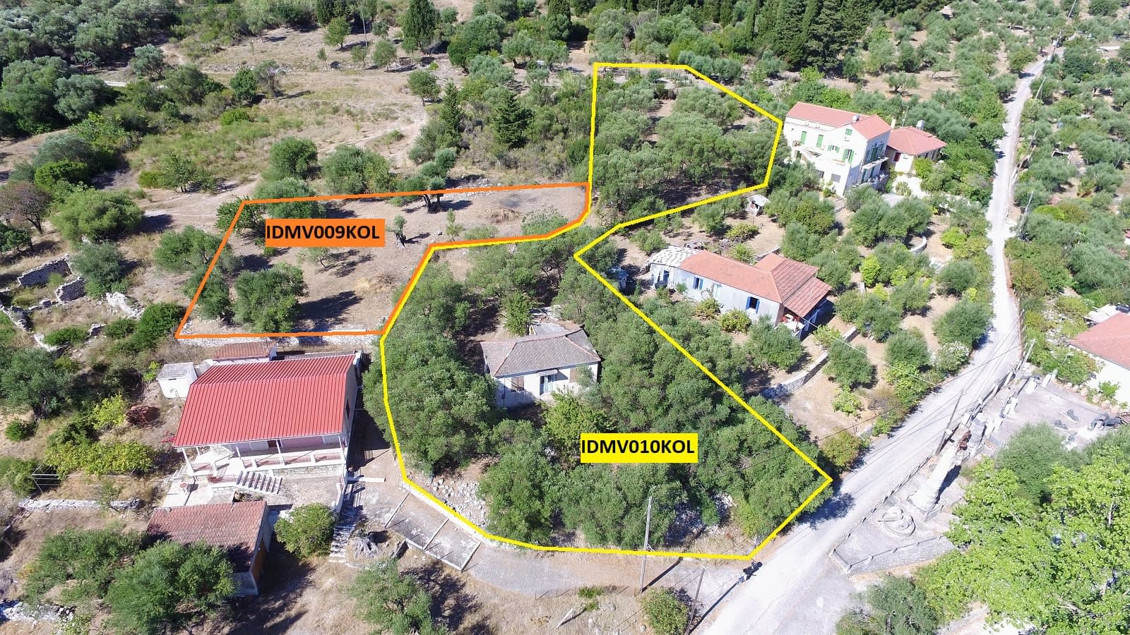 Aerial and border of house for sale in Ithaca Greece, Kolleri