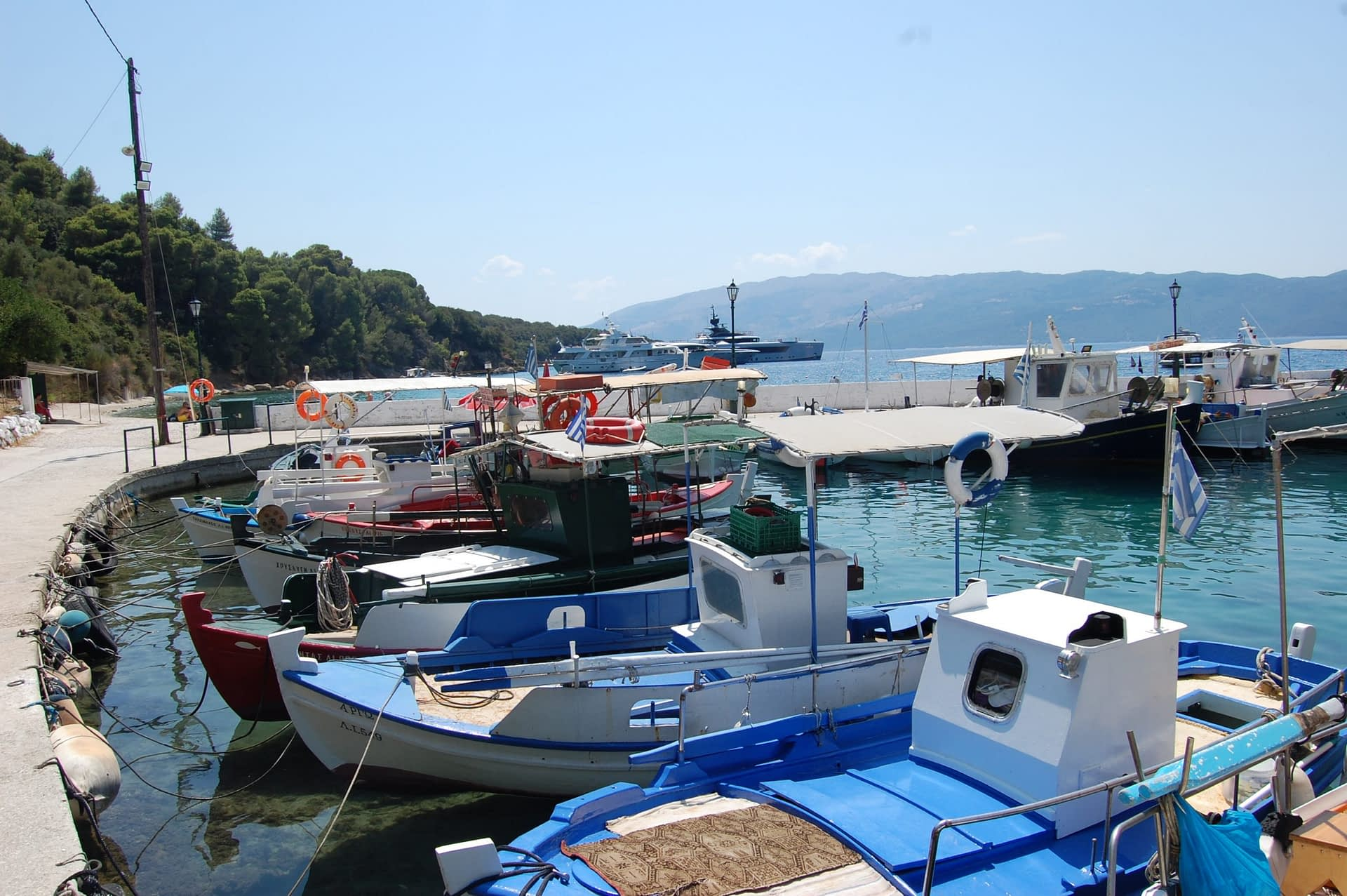 Polis bay with docked fishing boats