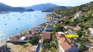 Aerial views of house for sale Ithaca Greece, Vathi