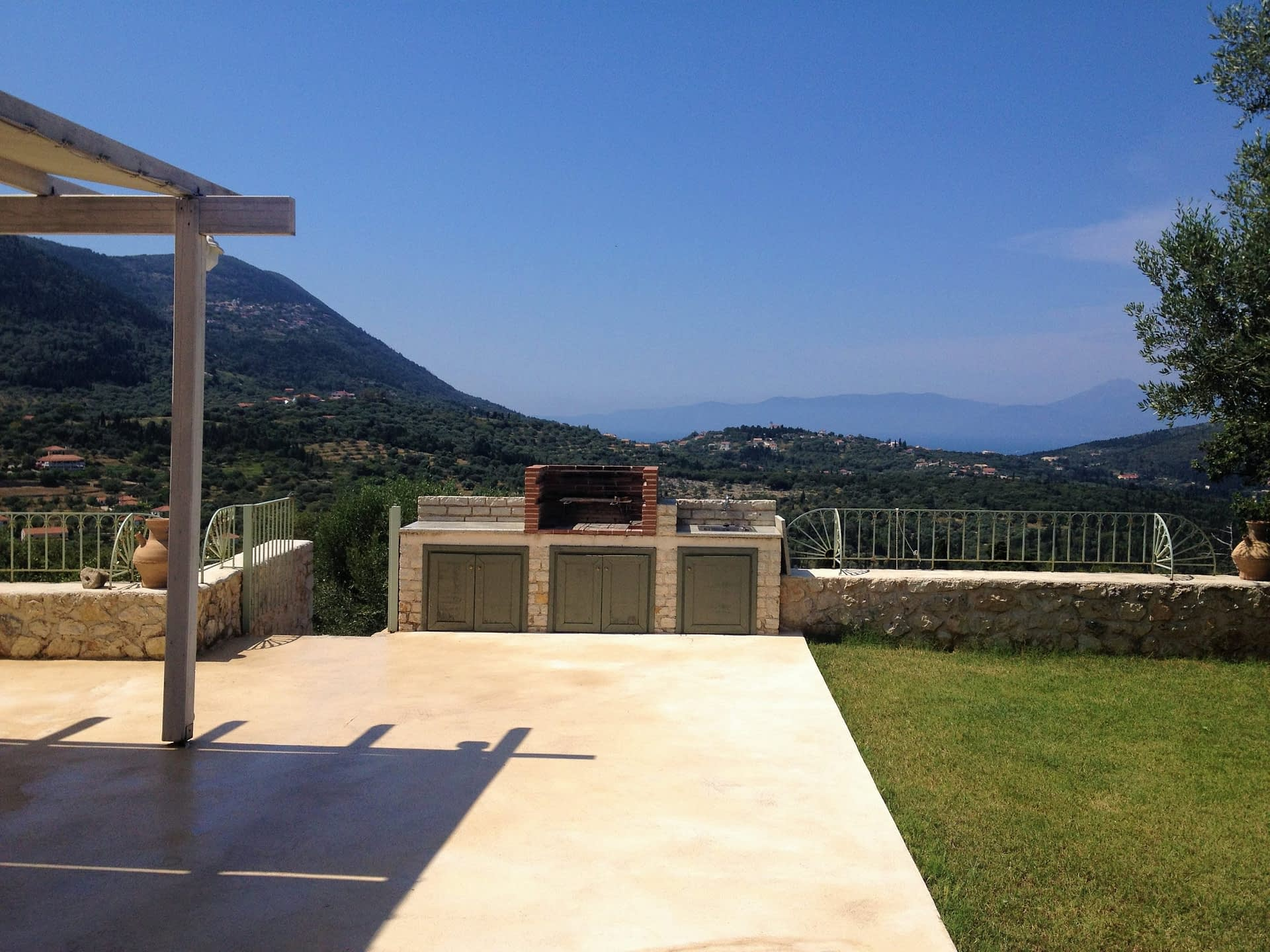 View and garden of Kouvarata for rent MV Properties Ithaca Greece