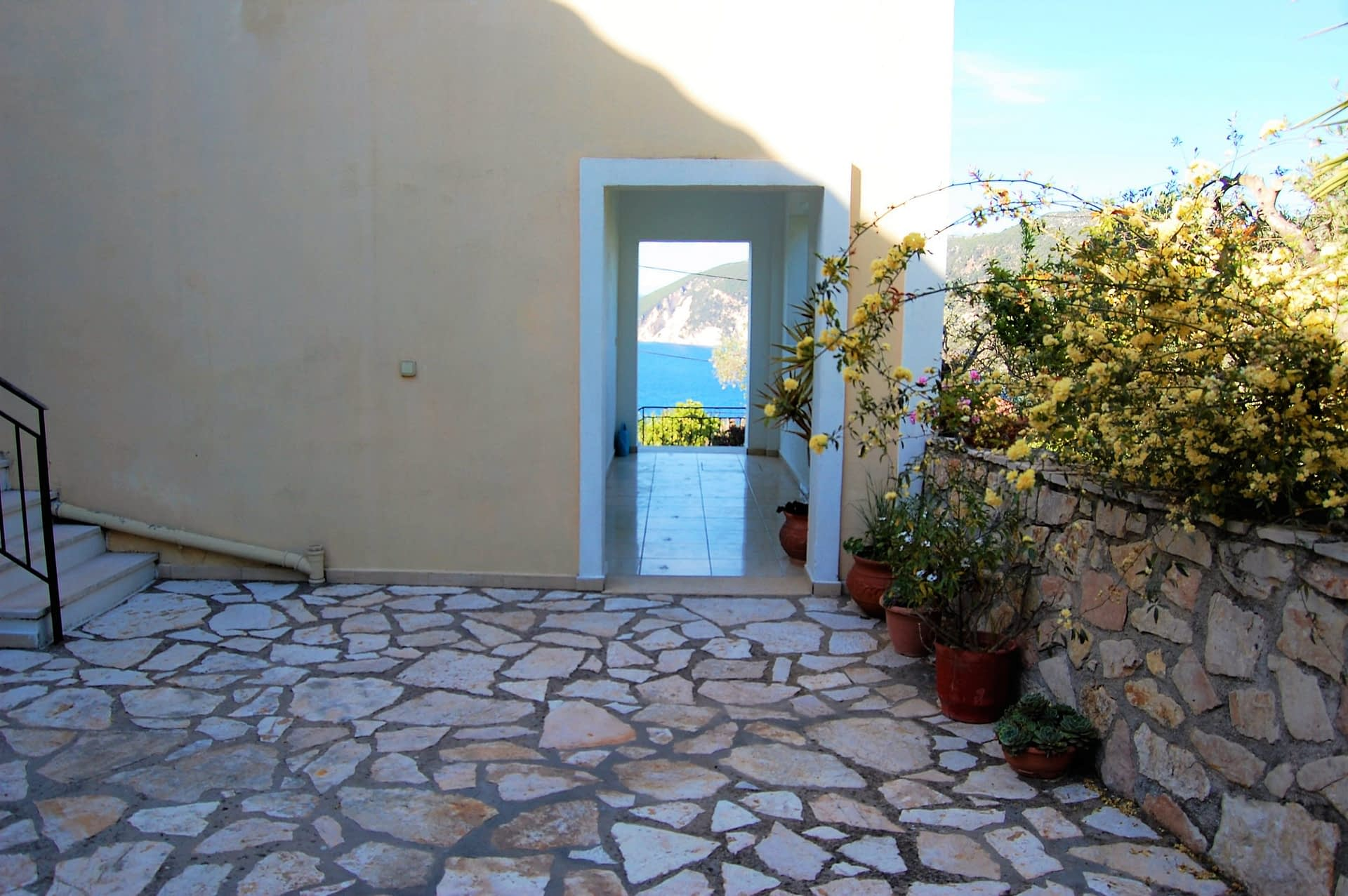 Courtyard of Afales Villa to rent MV Properties Ithaca Greece
