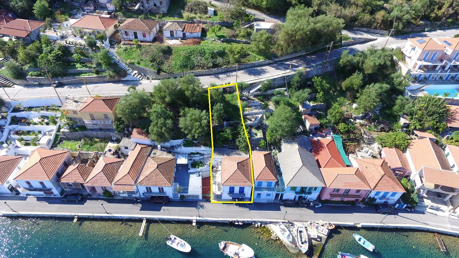 Aerial view and border of house for sale in Ithaca Greece, Vathi