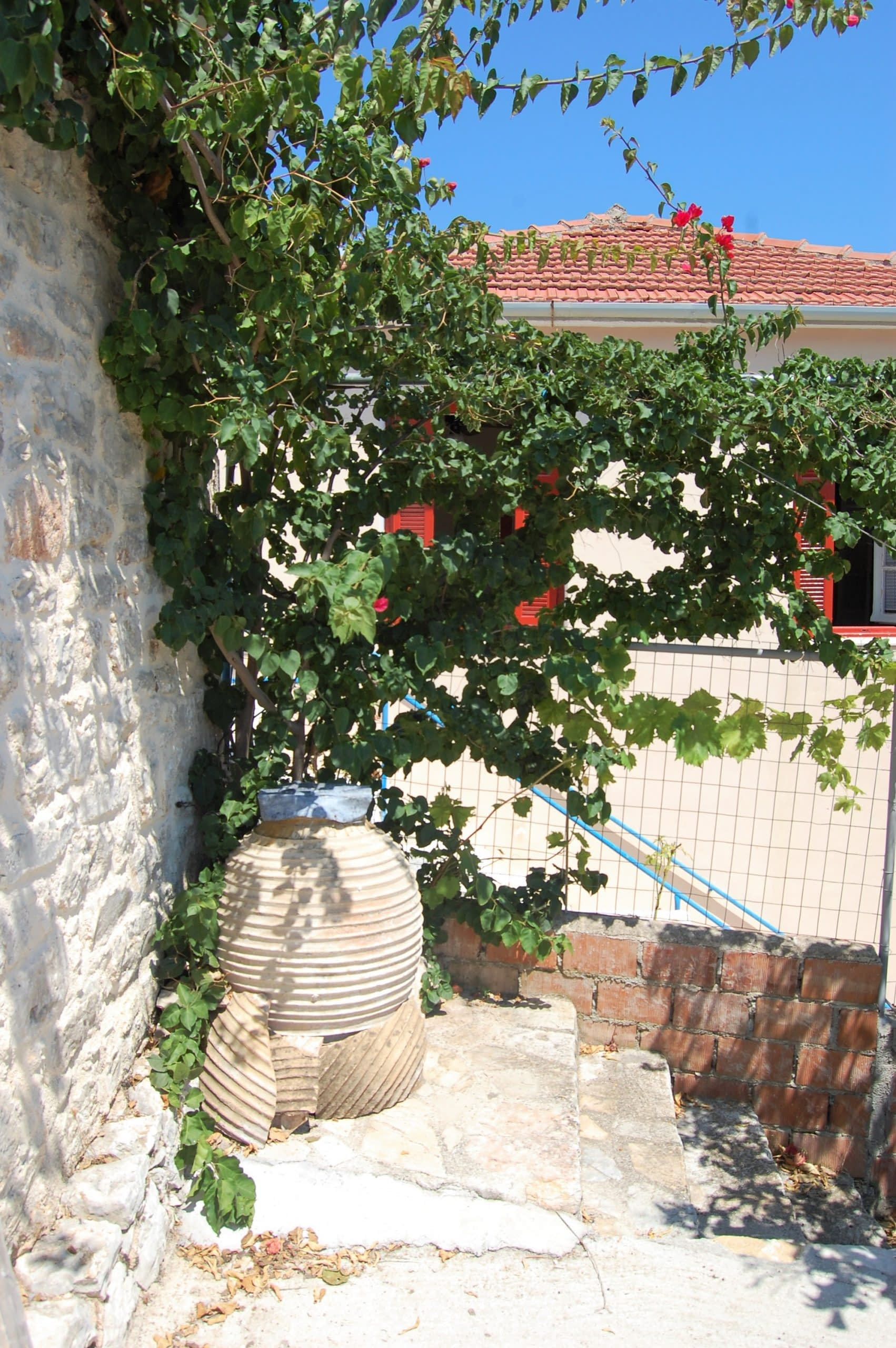 Entrance and terrace of rental property in Kioni Ithaca Greece