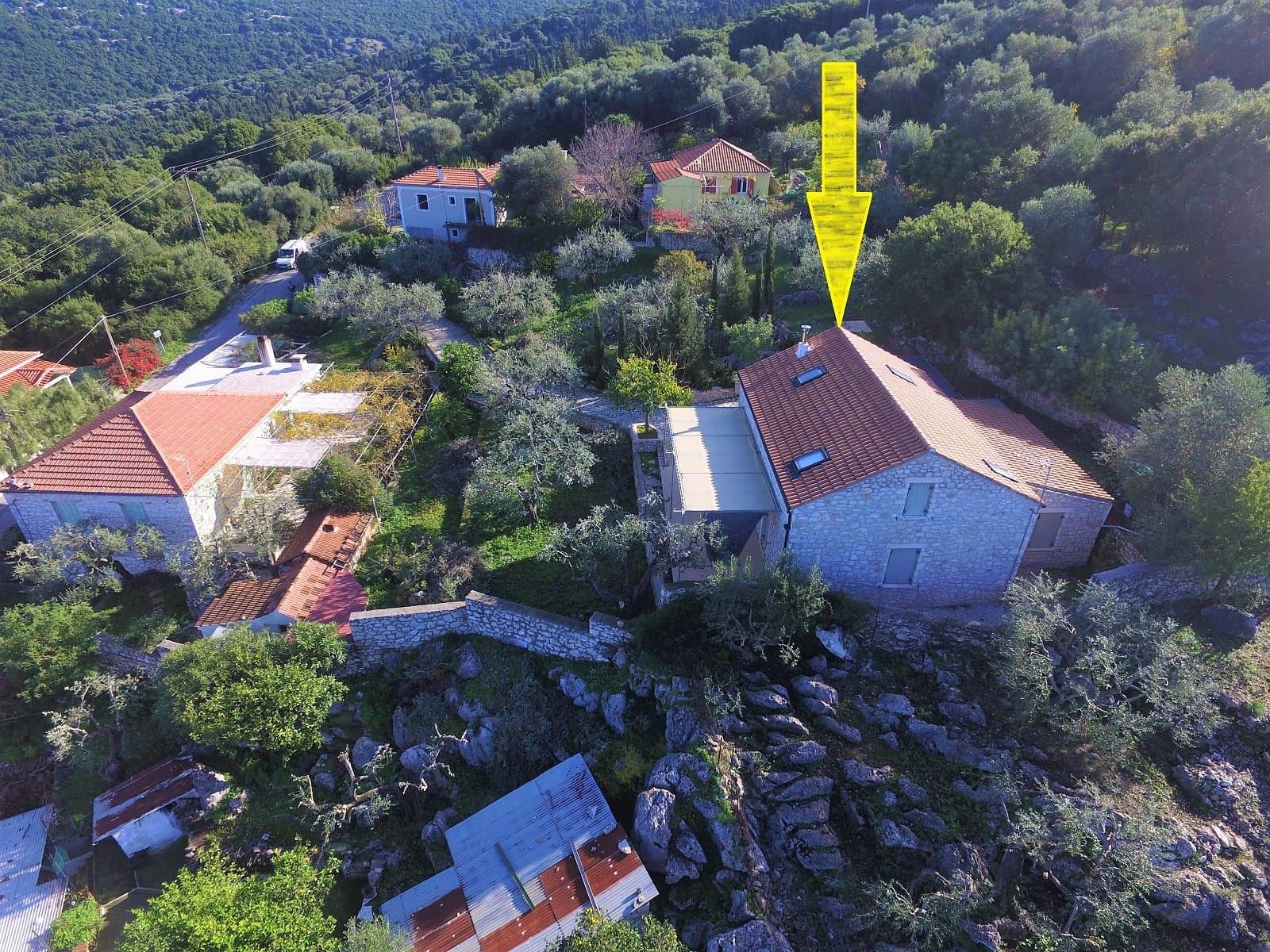 Aerial view of house to rent in Ithaca Greece, Stavros