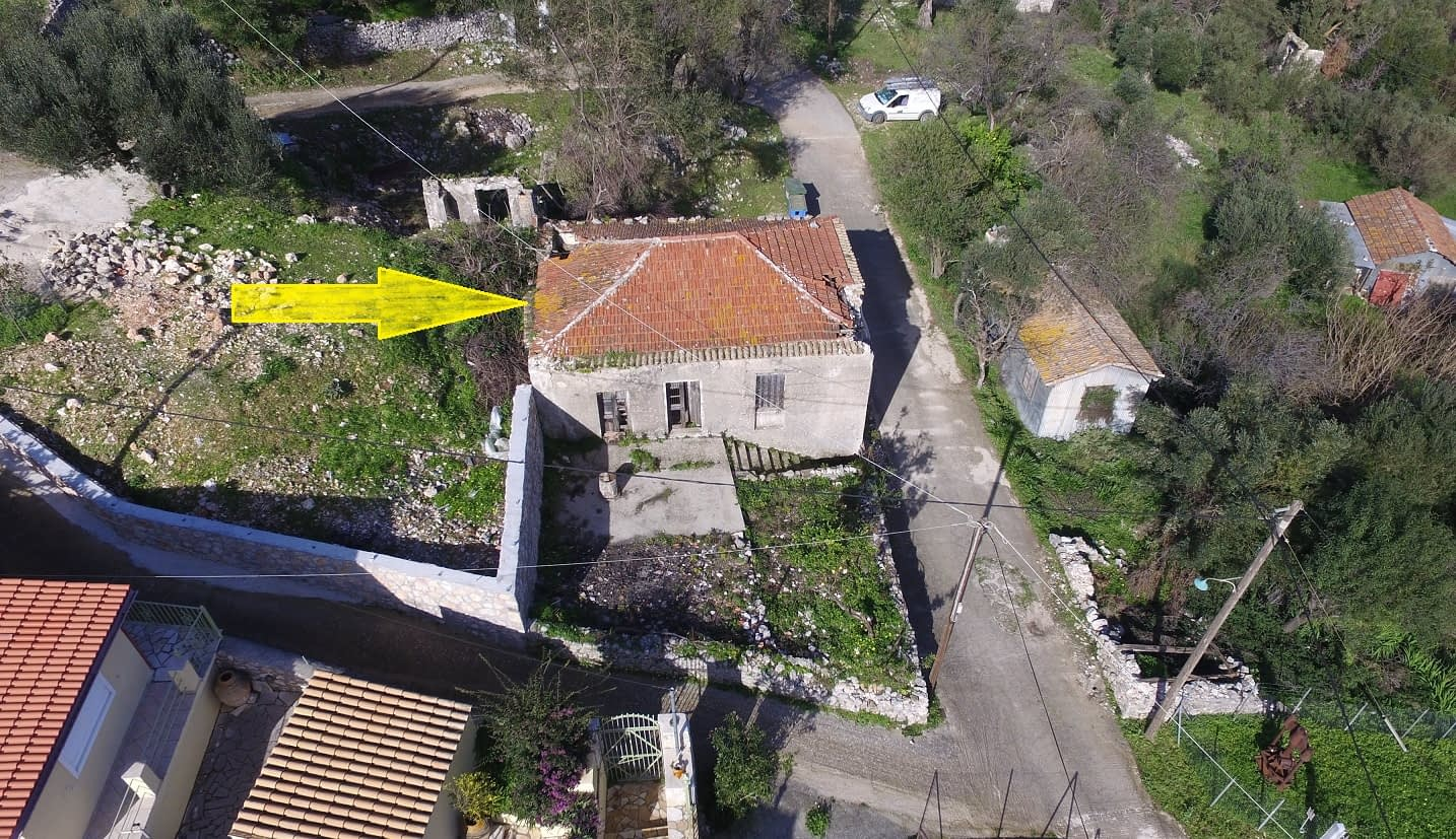 Aerial view and arrow of land for sale Ithaca Greece, Kolleri