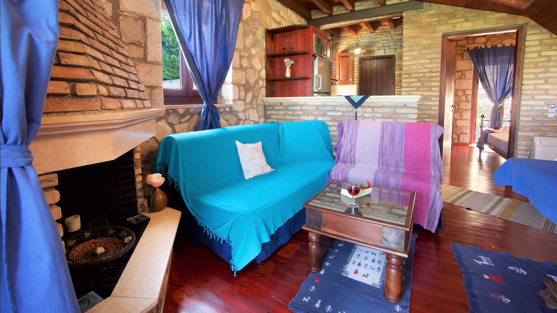 Sitting room of stone villa for rent in Ithaca Greece, Pilikata