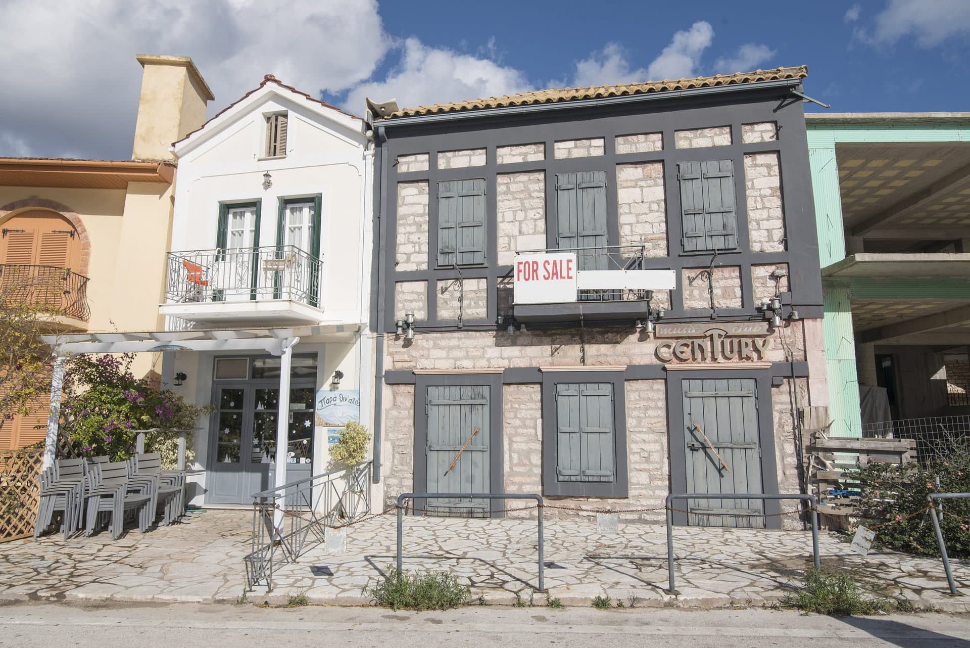 Exterior facade of building for sale in Ithaca Greece, Vathi