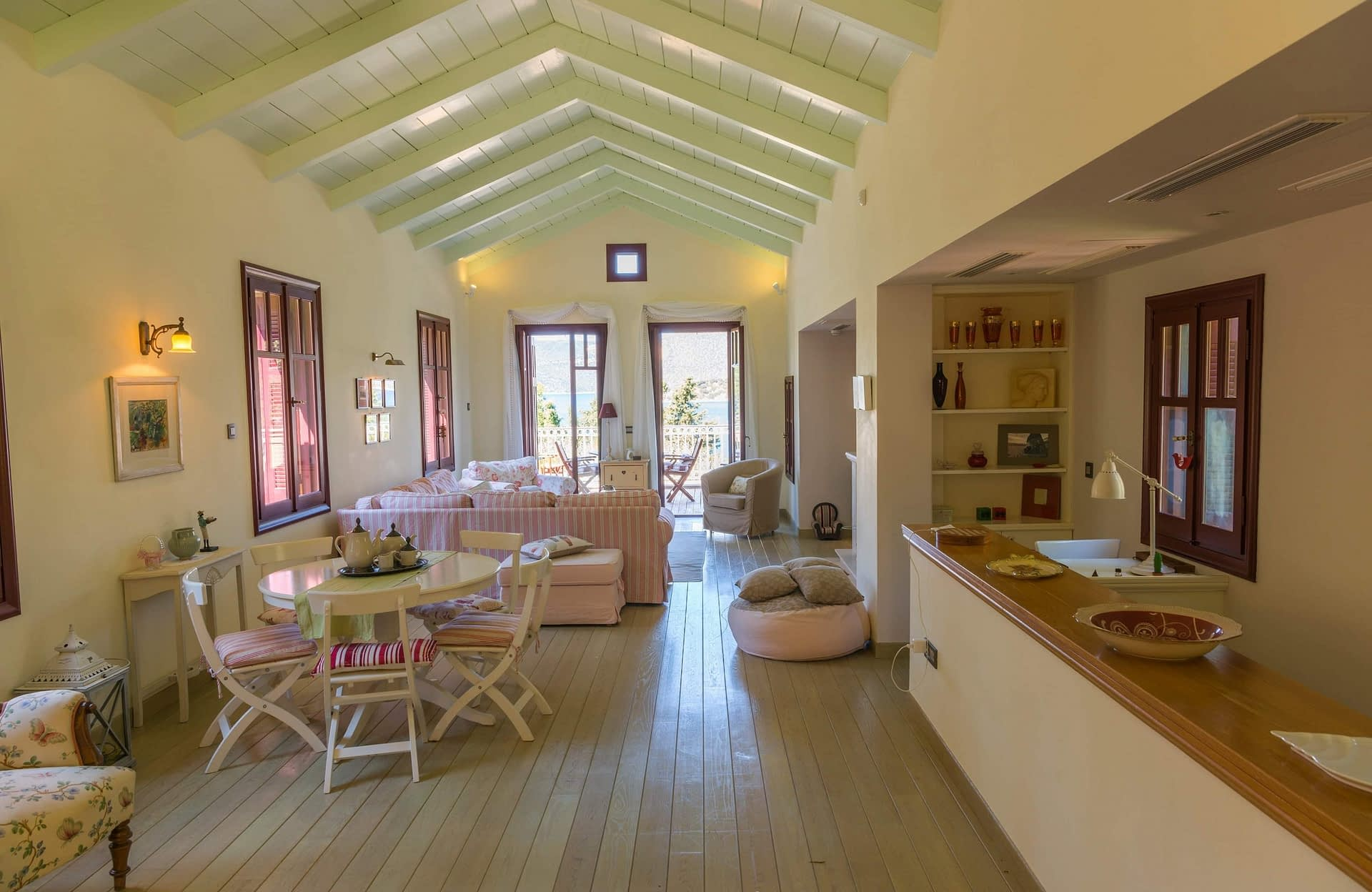 Interior living area of villa for rent Ithaca Greece, Vathi