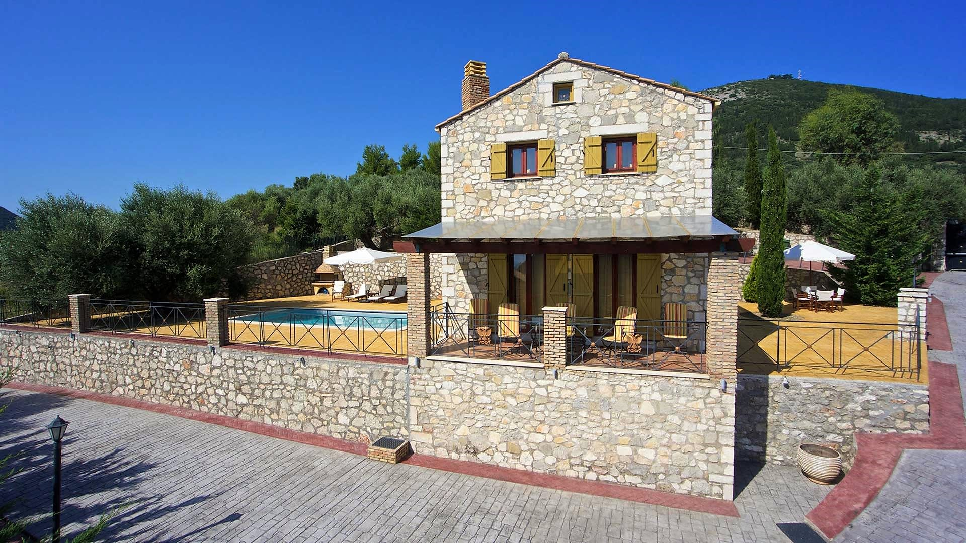 Exterior of stone villa for rent in Ithaca Greece, Pilikata