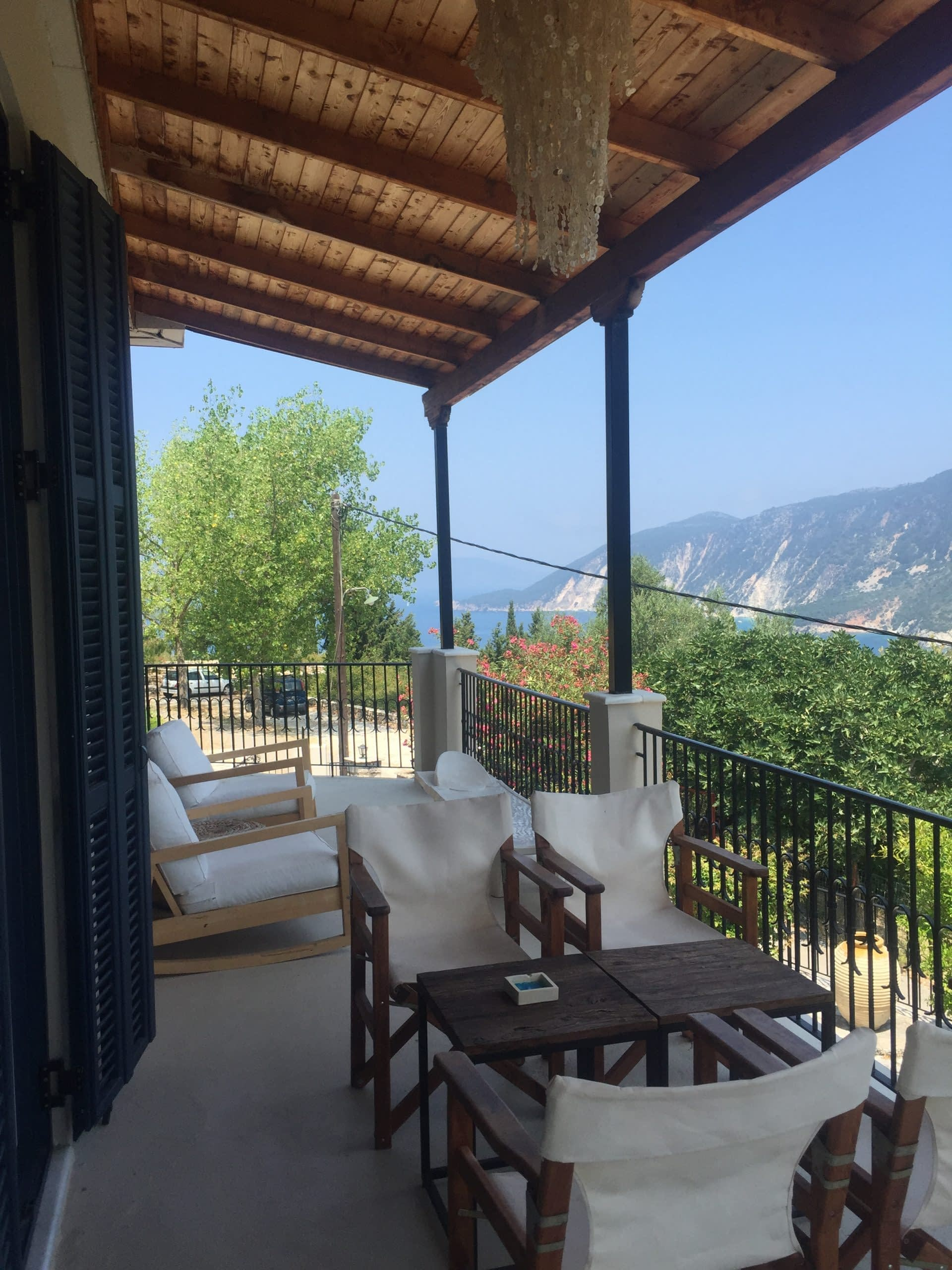 Balcony with view of house for rent Ithaca Greece, Kolleri
