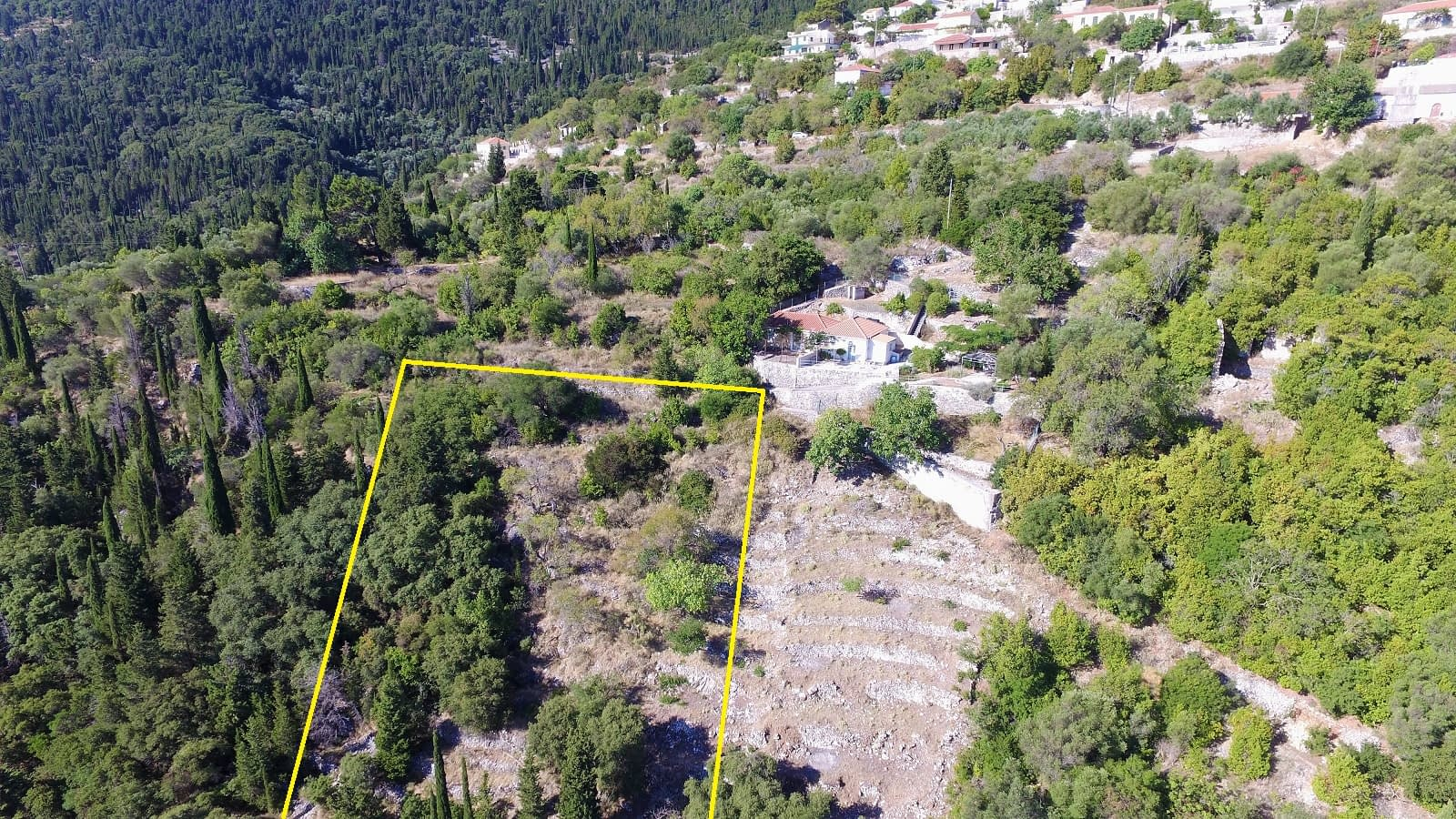 Aerial view of land for sale in Ithaca Greece Exoghi