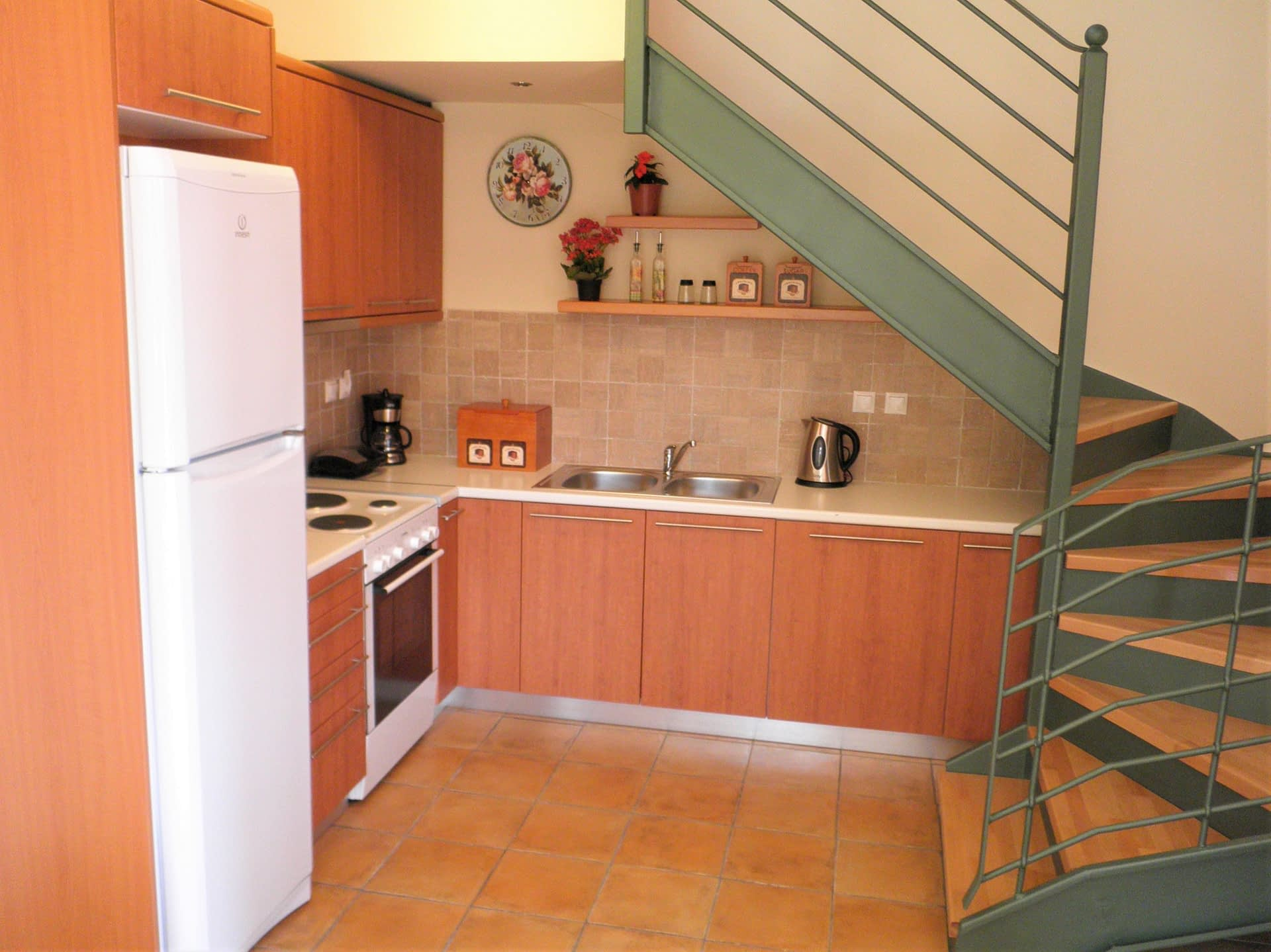 Interior kitchen of holiday house for rent in Ithaca Greece, Frikes