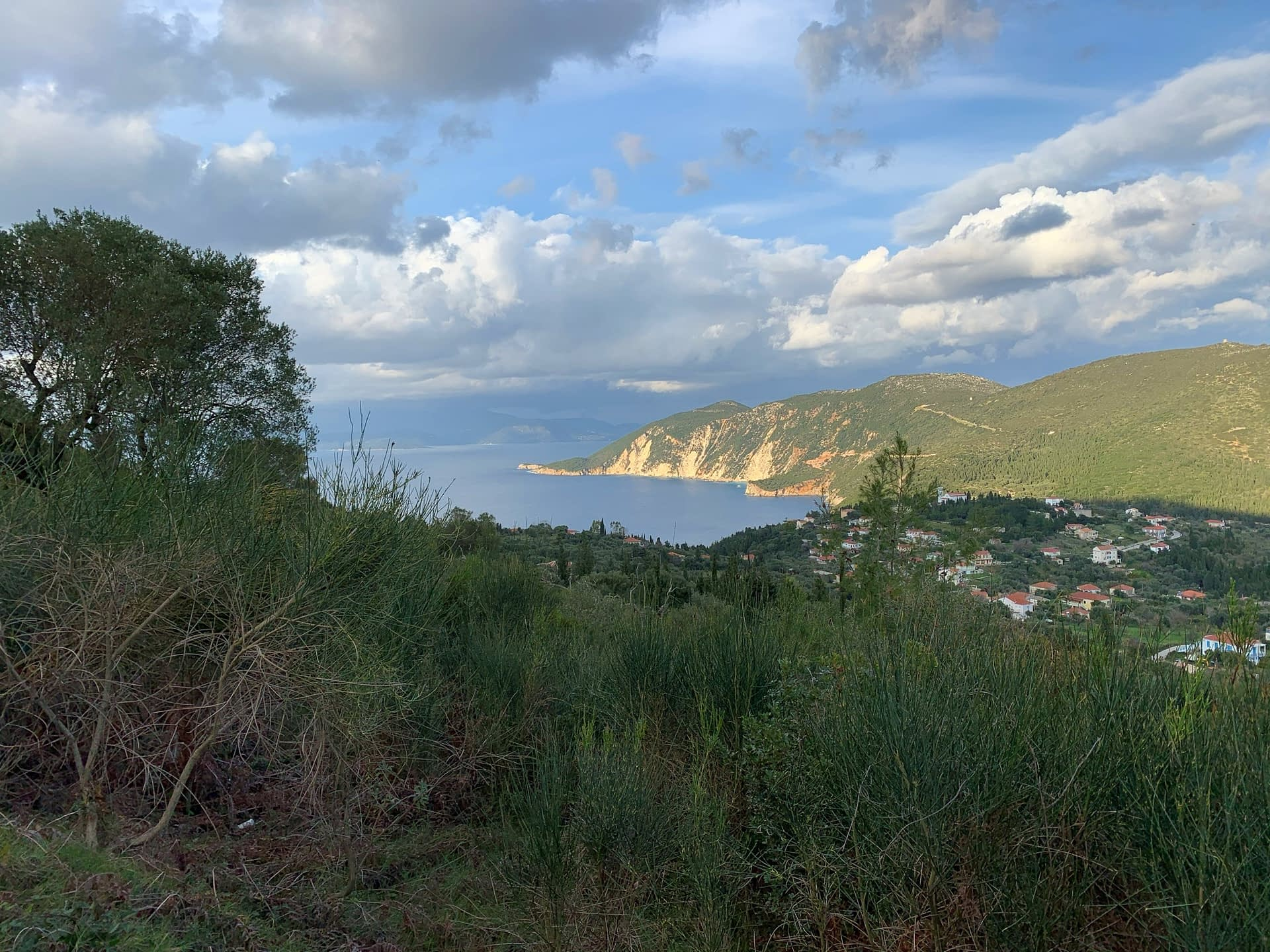 Landscape terrain and sea view of land for sale Ithaca Greece Exoghi