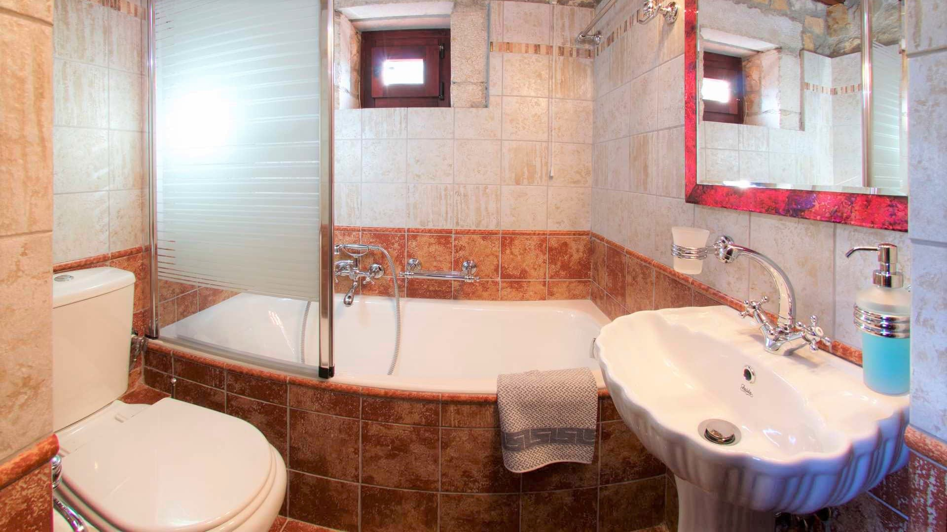Bathroom of stone villa for rent in Ithaca Greece, Pilikata