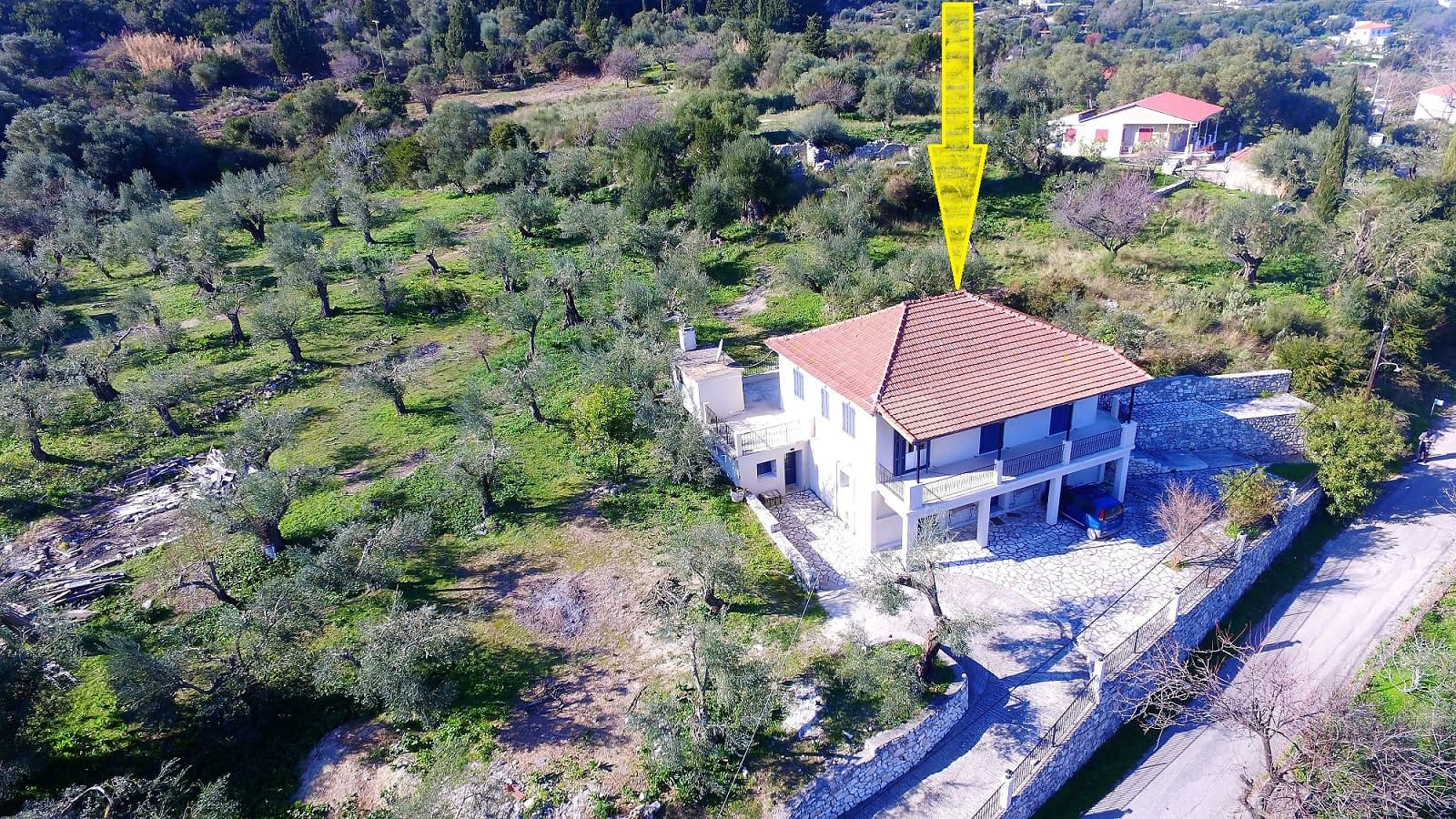 Aerial view of house for rent in Ithaca Greece, Kolleri