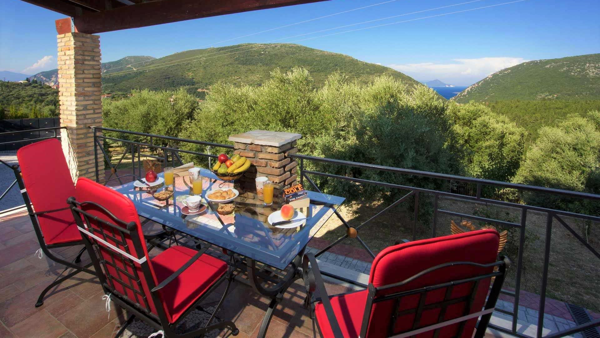 View from balcony of stone villa for rent in Ithaca Greece, Pilikata