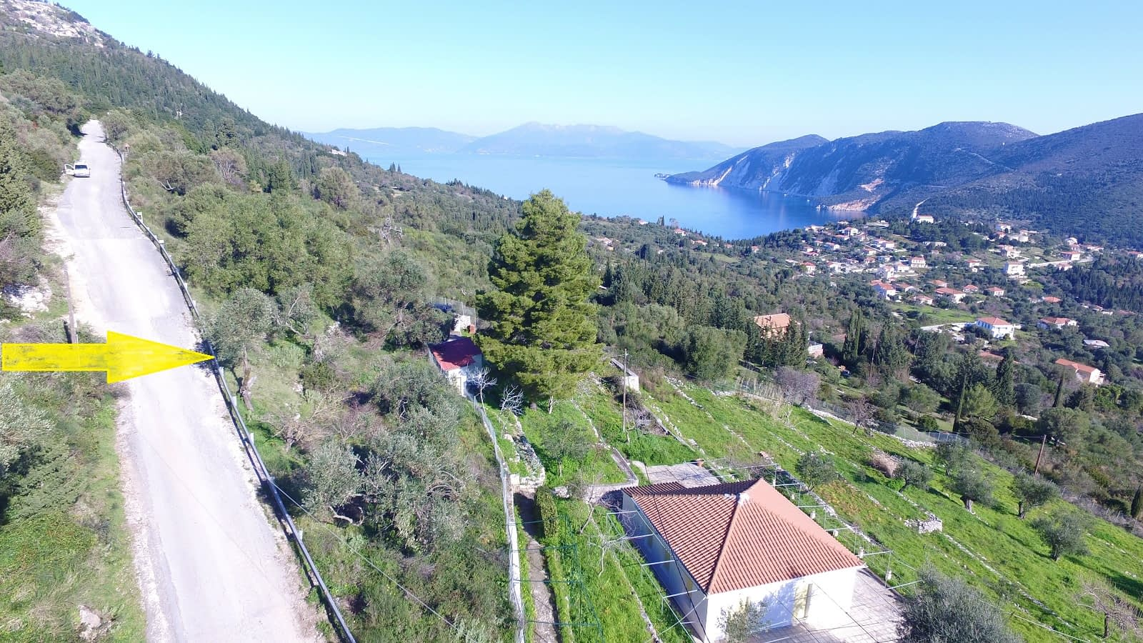 Aerial view of land for sale Ithaca Greece, Exoghi